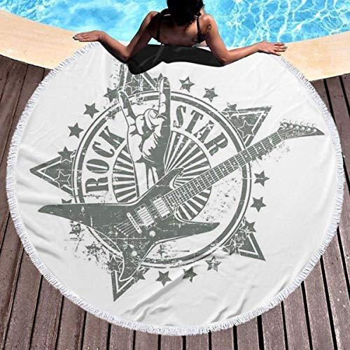 BOBO-Shop Toallas de Playa Redonda Grande Círculo Tapiz Manta de Playa Estrellas con Signo de Rock Diseño de Instrumento Musical monocromático Rockstar Life Singing