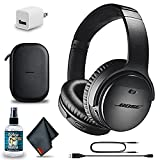 Bose QuietComfort 35 Series II Wireless Noise-Canceling Headphones (Black) (789564-0010) + Headphone Cleaner + USB Power Adapter + MicroFiberCloth - Base Bundle (Renewed)