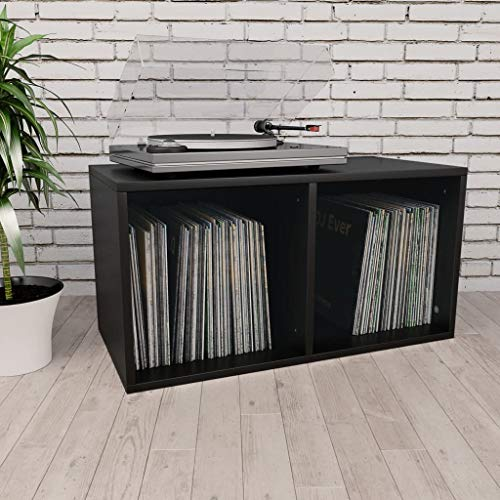 Festnight Schallplatten-Aufbewahrungsbox mit 2 Fächern Box Aufbewahrung Kasten Schallplatten Sammlung Regal Schwarz 71×34×36 cm Spanplatte