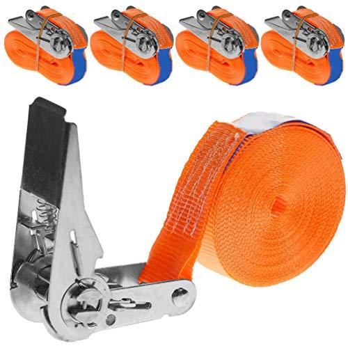 INDUSTRIE PLANET 4 Stück 400kg 6m Spanngurte mit Ratsche orange 1 teilig einteilig Zurrgurte Ratschengurte 25mm 400 daN 0,4t