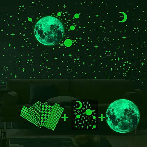 Ahsado 788pcs Wandsticker selbstklebend Leuchtsticker Wandtattoo, leuchtende Punkte Sterne und Mond Galaxie Wandaufkleber Dekor für Kinder Schlafzimmer oder Geburtstagsgeschenk, Wandtattoos