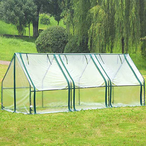 Quictent Waterproof UV Protected Reinforced Mini Cloche Greenhouse 95' WX 36' D X 36' / 71' WX 36' D X 36' H Portable Green Hot House- 50 Pcs T-Type Plant Tags Include (95' X 36' X 36')