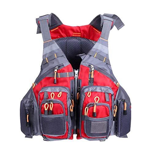 Auplew Chaleco de Pesca con Mosca Pesca Chaleco Salvavidas de Seguridad Chaleco de Pesca de Malla para navegar en Kayak