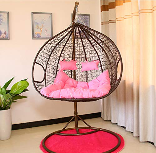 Afjyar Hanging basket wicker chair double balcony net red economical hanging orchid chair indoor swing single off rocking chair lazy bedroom black