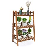 TOOCA Plant Stand Wood Indoor, 3-Tier, Steady Vertical Non-Slipage Plant Ladder Outdoor, Plant Shelf, Display Storage Rack, 24' x 12' x 35', Carbonized, with 3 Gardening Tools