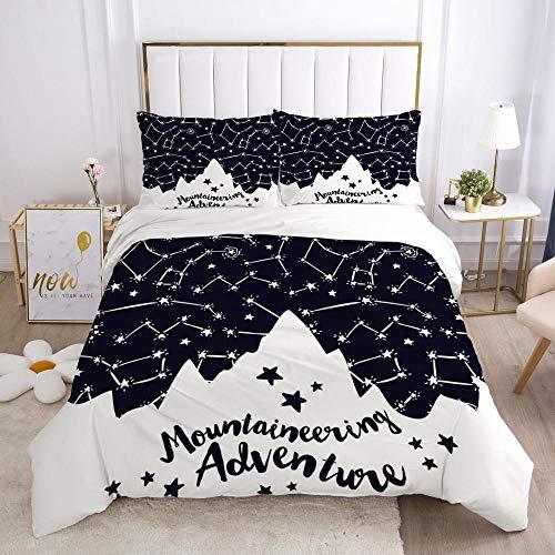 Påslakan Dubbel 3 delar Vändbar Svart bakgrund semester dekoration Tryckt sängkläder täckeöverdrag med dragkedja stängning 2 kuddfodral mjuk mikrofiber sängkläder 260x240cm