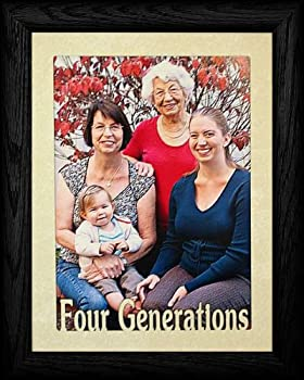 PersonalizedbyJoyceBoyce.com 5x7 Jumbo ~ Four Generations Portrait Picture Frame ~ Laser Cream Marble Matboard  Black