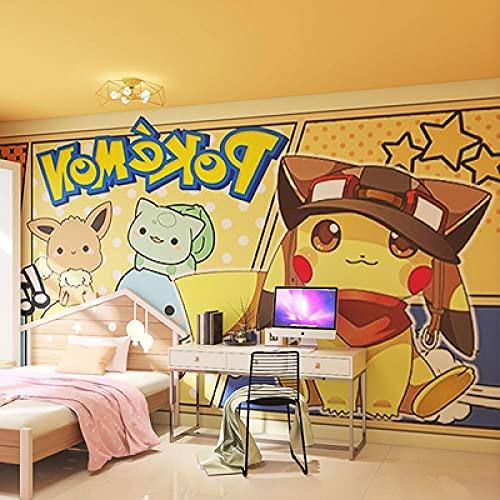 Pikachu Wallpaper Cute Cartoon Boy Bedroom Children's Room Background Wall Anime Wallpaper 250(L) x175(H) cm
