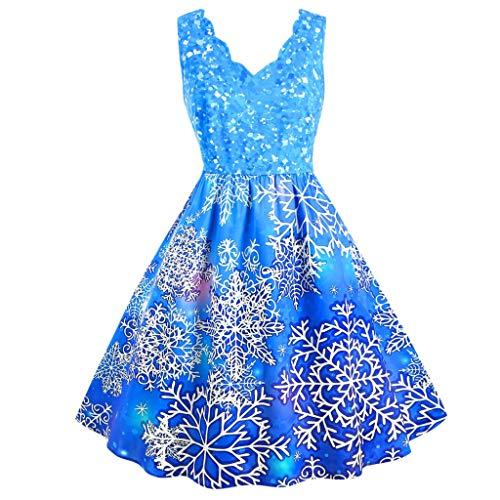 LOPILY Weihnachtskleid Rüschenkragen Elegant Damen Abendkleider Ärmellos mit Swing Volant Saum Ausgefallen Glitzer 3D Optiken Weihnachtskleider A-Linie Ausgestellte Etuikleider