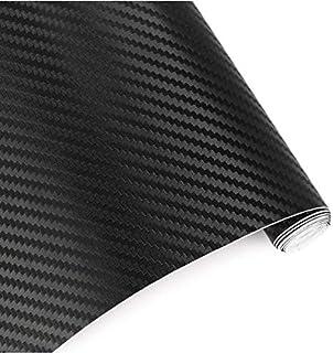 غطاء اسود مصنوع من فينيل الالياف الكربونية ثلاثية الابعاد بقياس 152 سم × 50 سم مصمم للسيارة من فيكيلاني، ملصق ملفوف خالي م...