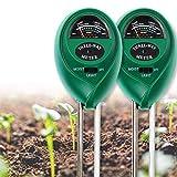 EKKONG Medidor PH suelo, comprobador de suelo, 3-in-1 Medidor de pH para Monitor de Agua del Suelo y la humedad luz para Planta/Jardín/Granjas (no requiere pilas, 2PCS)