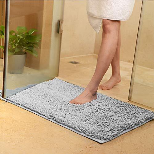 ZXBCD Bedroom Kitchen Living Room,Indoor Anti-Slip Rug Soft Machine Washable Doormat for Entrance, Water Absorption Doormat Bathroom Gray 80x160cm(31x63inch)