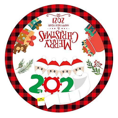 perfeciti 90cm Baumrock Rot Tannenbaumdecke 2020 Personalisierte Überlebende Familie Weihnachtsbaumröcke Weihnachts Dekorationen Bodenmatte Weihnachtsfeier Dekor