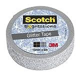 Scotch Expressions Nastro Decorativo 3M, Argento Glitter