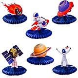 Kyson Outer Space Party Honeycomb Centerpieces Galaxy Table Decorations Rocket UFO Astronaut Planet Space Themed Birthday Party Baby Shower Supplies 6pcs