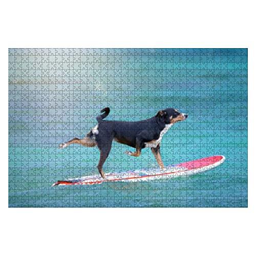 1000 Piezas Perro surfeando en una Tabla de Surf Rompecabezas de Piezas Grandes para Adultos Juguete Educativo para niños Juegos creativos Entretenimiento Rompecabezas de Madera Decoración del hogar