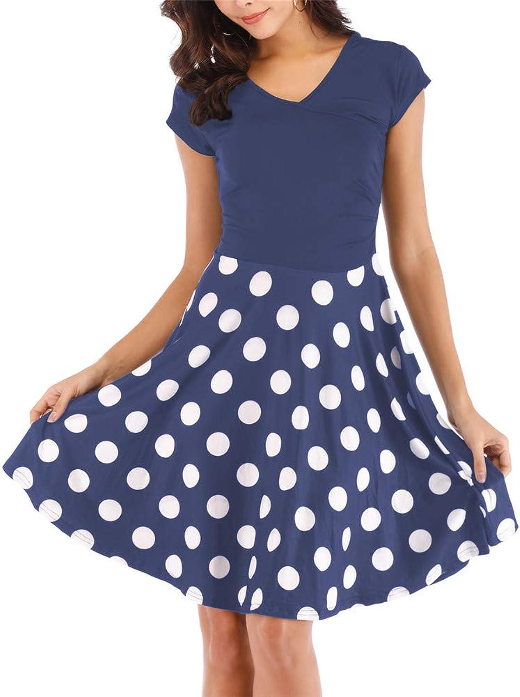 Agmibrelr Womens Elegant Buttery Soft V Neck Short Sleeve Wrap T Shirt Ruffle Aline Dresses