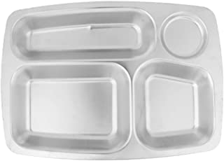 Prettyia Cafeteria Mess Tray Stainless Steel Rectangular Divided Plates Food Tray 3/4/5/6 Compartment Optional