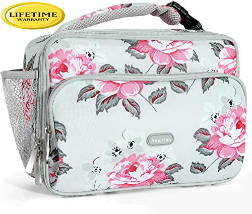 Amersun Kids Lunch Bag,Durable Insulated School Lunch Bag with Padded Liner Keeps Food Warm Cold Longer Time,Small Thermal Travel Office Lunch Cooler for Teen Girls-2 Pockets,Peony Gray