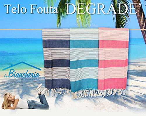 Drap de plage Fouta degradè mesure Grande cm.100 x 200 – Rose