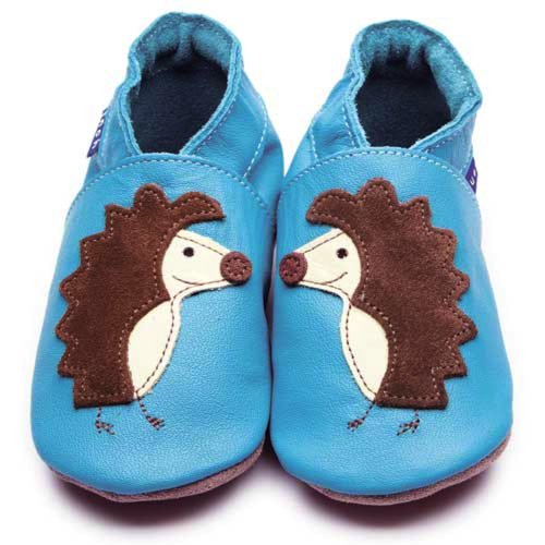 Inch Blue Mädchen/Jungen Schuhe für den Kinderwagen aus luxuriösem Leder - Weiche Sohle - Igel Türkis