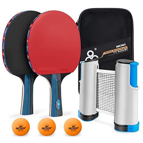 MOSRACY Tischtennis-Set,2Tischtennisschläger,3Tischtennis,1Tragbares Einziehbares Tischtennisnetze und Netzbeutel(Ping Pong für Kinder/Erwachsene),Tischtennisschlaeger Set für profe Heim Büro Stadion