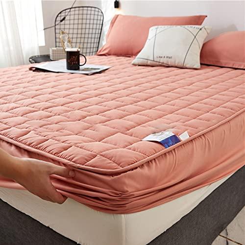 BAJIN Sábanas, sábana bajera acolchada gruesa con banda elástica de terciopelo, funda de cama de lujo, hipoalergénica, a prueba de ácaros, transpirable, sin ruido, 180 x 200 + 25 cm