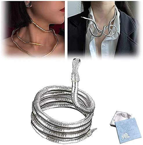 Collar de serpiente Creative Freedom, collar de serpiente de 4 colores, collar de serpiente punk, collar flexible multiusos (plata)