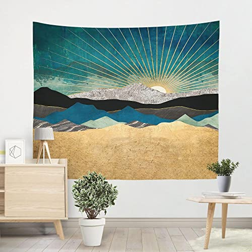 Tapiz Playa Sol Cian Tapiz Pared Poliéster Decoracion Habitacion Tapices de Pared Tapestry Decoracion Pared Aesthetic Room Decor Con 2 Clavos y 2 Clips 150x200cm