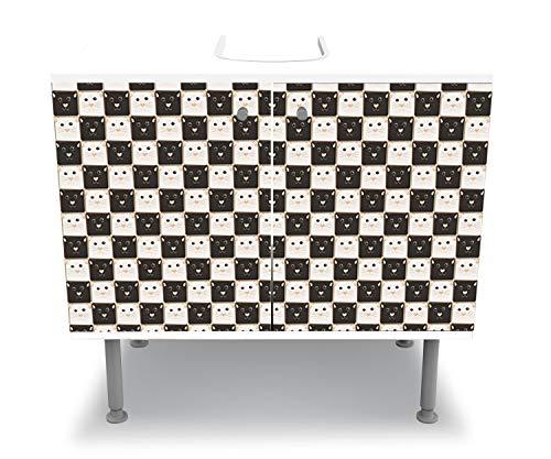 wandmotiv24 Badunterschrank weiß, Schachbrett aus schwarzen und weißen Katzen Komplettbeklebung Waschbecken, Waschbeckenunterschrank M0984