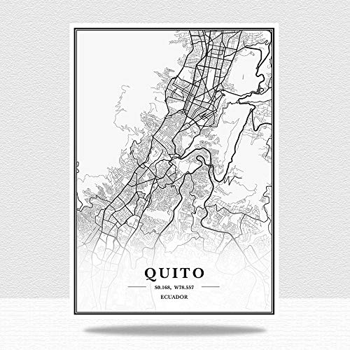 Ecuador Quito Mapa De La Ciudad Impresión De Lienzo,Verticales Blanco Y Negro Pared Arte Pintura Lienzos Decorativos Adecuado para Cuadros Dormitorios,Cuadros Decoracion Salon Modernos,50X70Cm/19.68