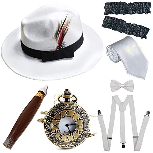 1920s Trilby Manhattan Fedora Hat, Plastic Cigar/Gangster Armbands/Vintage Pocket Watch,Suspenders Y-Back Trouser Braces,Pre Tied Bow Tie,Tie,White&White