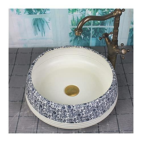 Lavandino da Bagno Lavello del vaso del bagno retrò cinese, rotondo sopra il vaso del bagno in ceramica della porcellana sopra il bacino di arte del lavaggio (non include il rubinetto) Lavabo da appog