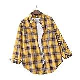 Camisa Camisas para mujer Blusas sueltas simples Camisa a cuadros de manga larga para mujer Blusa de un solo pecho Top Prendas de abrigo se aplican al trabajo negocios o uso diario etc.-Tangerine_S