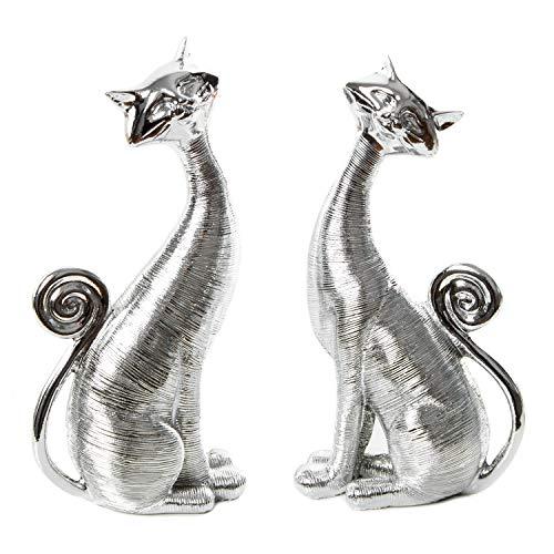 Logbuch-Verlag Par de gatos decorativos – 2 figuras de gato plateadas de 21 cm – Idea de regalo para los amantes de los gatos