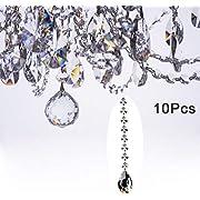 Fushing 10Pcs 1ft Crystal Teardrop Chandelier Prisms Pendants Parts Beads Strands