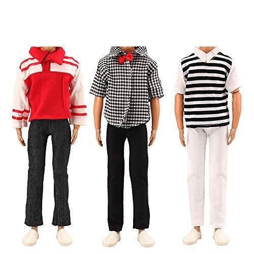 Miunana 3 Juegos de Ropa Casual Vestir Traje Camisas y Pantalones para 12 Pulgadas Muñeco