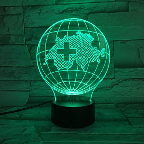 AOXULIU Luz de noche Lámpara 3D Mapa De Suiza De 7 Colores Lámparas De Noche Led Para Niños Lámpara De Mesa Usb Led Táctil Luz De Noche Para Dormir Para Bebés Base Negra
