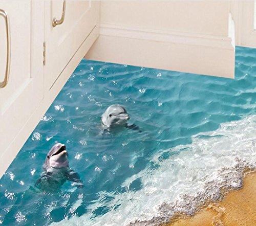 3D Dolphin & Beach Floor Sticker