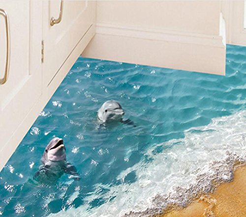 3D Beach Floor Stickers, Keepfit Removable Mural Decals Dolphin, Starfish and Sea Wall Decor for Baby Kids (Dolphin)