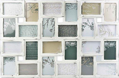 Gallery Solutions Bilderrahmen Collage 24 Fotos à 10x15 cm, Weiß Antik, Außenformat: 88,5x57x2,5 cm