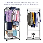NEWTECK Sèche-linge électrique portable avec lumière UV pour désinfecter. Sèche-linge par ventilation (1 200 W) Capacité 15 kg, Temp. 180 min, 3 niveaux, multifonction : sèche-linge, armoire, séchoir. #3
