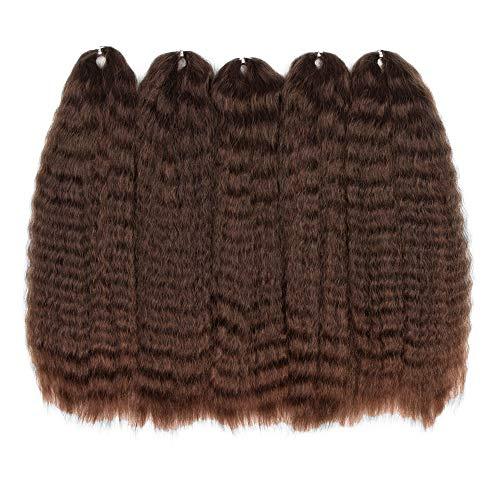 Style Icon Yaki Straight Textured 50,8 cm Crochet Hair 5 Bundles Long Natural Wave Kanekalon Fiber Wavy Braiding Hair Weave for Black Women Hot Water Setting (50,8 cm, SOM30/33)