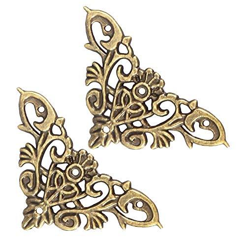 Coin décoratif, 12 PCS Protection pour Meubles Style Antique en Forme de Creux pour Bijoux Scrapbook Album Protecteur Boîte en Bois Coin Décor Quincaillerie Accessoire(Large)