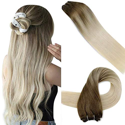 LaaVoo 16 Pollici/40cm Extension Capelli Umani Tessitura Lisci Remy Balayage Extension Remy Human Hair Extensions #8/59 Light Brown with Light Blonde 100g Veri Capelli Tessitura Biondi