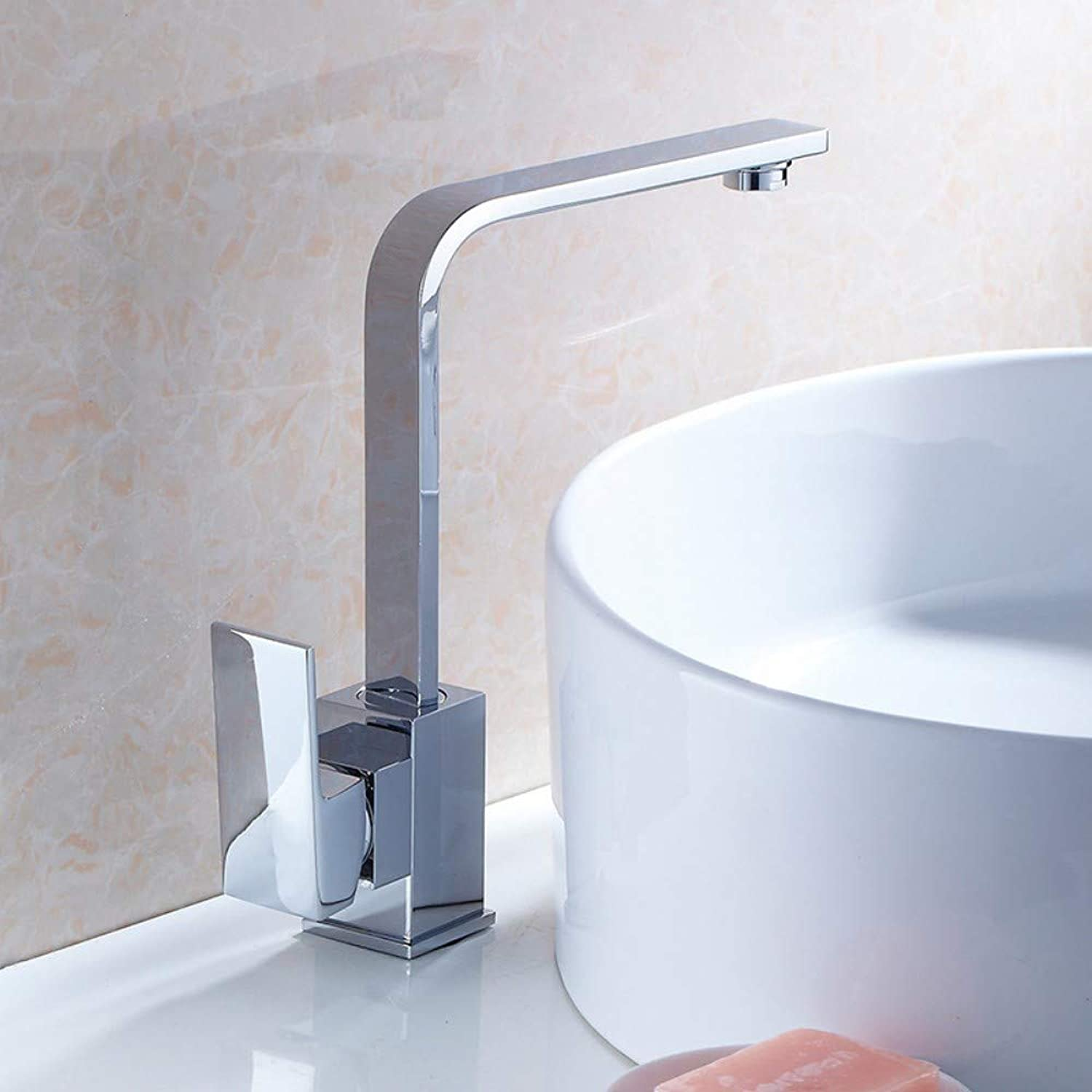 Kitchen Faucet Sink Sink Basin Above Counter Basin Hot and Cold Water Faucet Square Flat Tube redating Water