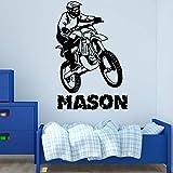 Calcomanía de pared de Motocross,nombre personalizado,arte ,pegatina de bicicleta de jardín de infantes personalizada,pegatina de vinilo para niños,pegatina de pared,pegatina de pared A9 57X86cm