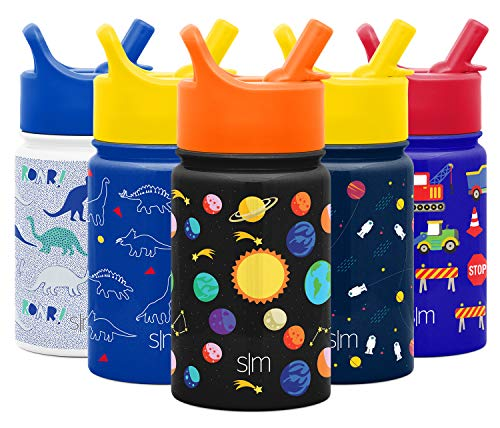 Simple Modern 10oz Summit Kids Water Bottles with Straw Lid Sippy Cup - Dishwasher Safe Vacuum Insulated Tumbler Double Wall Travel Mug 18/8 Stainless Steel Flask - Solar System