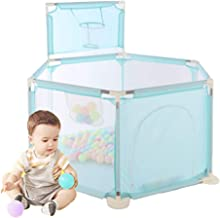 Arkmiido Kids Playpen Fence with Basketball Hoop,Playpen for Babies Breathable Mesh, Portable Indoors Outdoors and Parks Great Gifts for Babies Infant Toddler Kids Blue