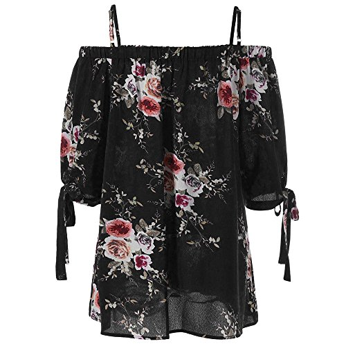 Overdose Mode Damen Sommer Schulterfrei Oberteile T Shirt Plus Size Blumendruck Bluse Casual Tops Camis(Schwarz,3XL)